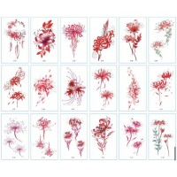 Floral Vintage Style Casual Tattoo Stickers - Red