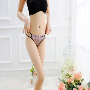 Women Sexy Floral Transparent Exquisite Briefs Panties - Pink