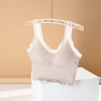 Short Vest Outer Wears Cotton Sling Padded Casual Bra - Apricot