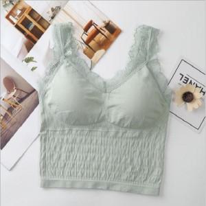 Women Luxury Beauty Back Wrap Breast Bra - Green