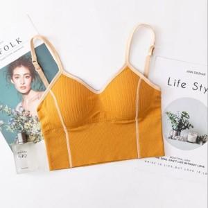 Women Seamless Sexy U Shaped Back Tops Bra - Yellow