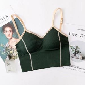 Women Seamless Sexy U Shaped Back Tops Bra - Green