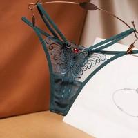 Women Butterfly Hot Ultra Thin Thong Underwear - Dark Green