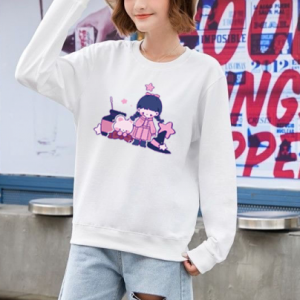 Girl Printed Round Neck Loose Wear Jumper Top - White