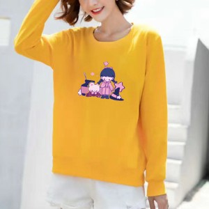 Girl Printed Round Neck Loose Wear Jumper Top - Yellow