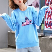 Girl Printed Round Neck Loose Wear Jumper Top - Blue