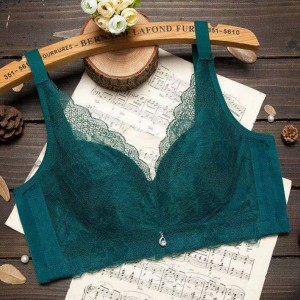 Floral Textured Lace Padded Hook Closure Bra - Green