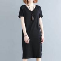 Solid Short Sleeve V Neck Midi Dress - Black