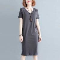 Solid Short Sleeve V Neck Midi Dress - Gray