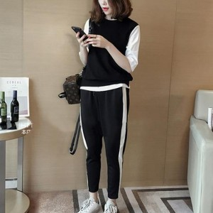 Contrast Round Neck Top With Narrow Bottom Trouser Two Pieces Suit