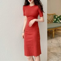 Short Sleeves Round Neck Body Fitted Formal Mini Dress - Red