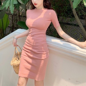 Short Sleeves Round Neck Body Fitted Formal Mini Dress - Pink