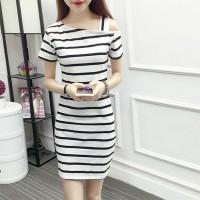Slash Shoulder Striped Printed Mini Dress - White