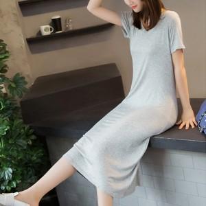 V Neck Solid Short Sleeved Midi Dress - Gray