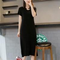 V Neck Solid Short Sleeved Midi Dress - Black