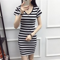 V Neck Striped Prints Full Sleeved Mini Dress - Black and White