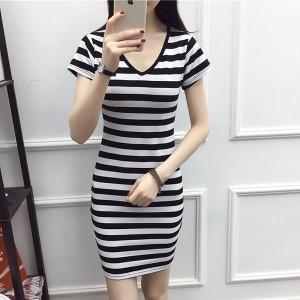 V Neck Solid Short Sleeved Midi Dress - Black and White