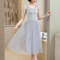 Sleeveless Round Nech Mesh See Through Skirt Elegant Dress - Gray