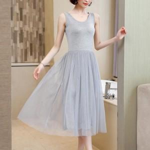 Sleeveless Round Nech Mesh See Through Skirt Elegant Dress - Gray