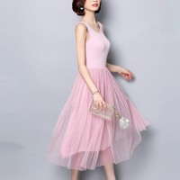 Sleeveless Round Nech Mesh See Through Skirt Elegant Dress - Pink