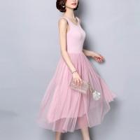 Sleeveless Round Nech Mesh See Through Skirt Elegant Dress - Pink