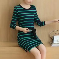 Round Neck Striped Prints Full Sleeved Mini Dress - Green