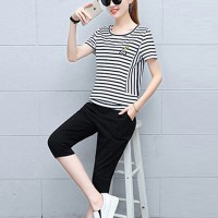 Round Neck Short Sleeves Two Pieces Casual Wear Suit - Black and White