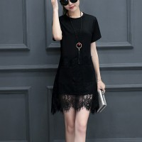Lace Tassel Hem Short Sleeved Mini Irregular Dress - Black