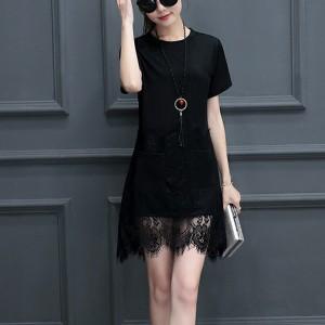 Lace Tassel Hem Short Sleeved Mini Irregular Dress - Black