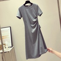 Drawstring Waist Stylish Short Sleeved Mini Dress - Gray