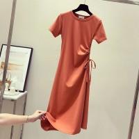 Drawstring Waist Stylish Short Sleeved Mini Dress - Orange