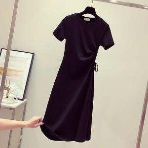 Drawstring Waist Stylish Short Sleeved Mini Dress - Black