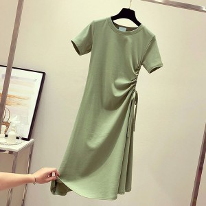Drawstring Waist Stylish Short Sleeved Mini Dress - Green
