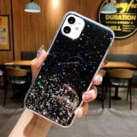 Glittered Sequins Anti Damage Protective Mobile Case Cover For iPhone - Black