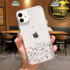 Glittered Sequins Anti Damage Protective Mobile Case Cover For iPhone - White