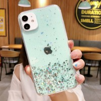 Glittered Sequins Anti Damage Protective Mobile Case Cover For iPhone - Green