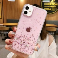 Glittered Sequins Anti Damage Protective Mobile Case Cover For iPhone - Pink