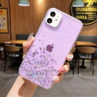 Glittered Sequins Anti Damage Protective Mobile Case Cover For iPhone - Purple