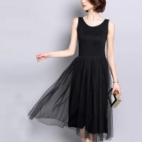 Sleeveless Round Nech Mesh See Through Skirt Elegant Dress - Black