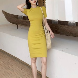 Short Sleeves Round Neck Body Fitted Formal Mini Dress - Yellow