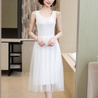 Sleeveless Round Nech Mesh See Through Skirt Elegant Dress - White
