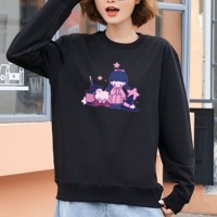 Girl Printed Round Neck Loose Wear Jumper Top - Black