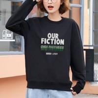 Text Printed Round Neck Fashion Wear Jumper Top - Black