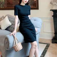 Short Sleeves Round Neck Body Fitted Formal Mini Dress - Black