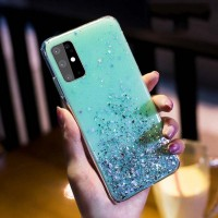 Sequins Decorative Transparent Protective Case For Samsung Series - Green