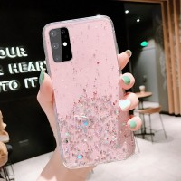 Sequins Decorative Transparent Protective Case For Samsung Series - Pink