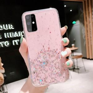 Sequins Decorative Transparent Protective Case For Samsung Series - Pink