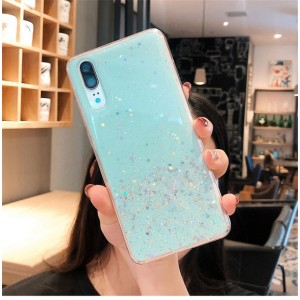 Sequins Decorative Clear Plastic Anti Damage Mobile Cover For Huawei Phone Series - Green