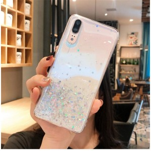 Sequins Decorative Clear Plastic Anti Damage Mobile Cover For Huawei Phone Series - White
