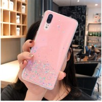 Sequins Decorative Clear Plastic Anti Damage Mobile Cover For Huawei Phone Series - Pink